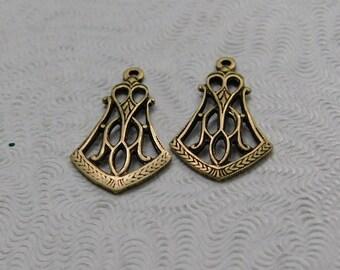 LuxeOrnaments Oxidized Brass Filigree Pendant Art Deco (Qty 2) 18x11mm G-07193-D-B