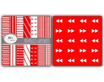 Digital Paper Triangle White and Red. 14 digital papers for scrapbooking, web design, party decorations...
