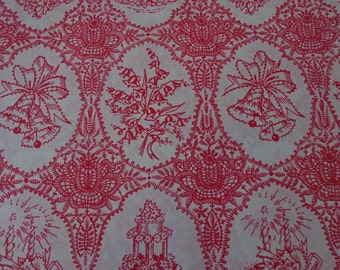 Vintage Gift Wrap Wedding Wrapping Paper 1950s -2 Sheets-Red Wedding
