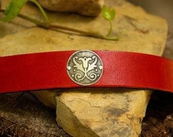 Leather cuff bracelet, cuff bracelet, leather bracelet, red leather bracelet, leather & silver cuff, red leather cuff
