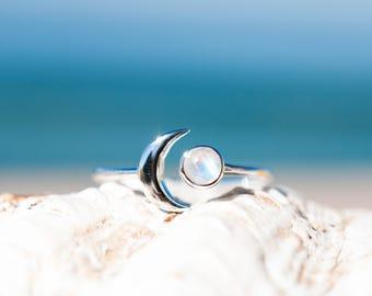 Moonstone Ring ~ Sterling Silver 925 ~Handmade ~Adjustable~ Crescent ~Half Moon ~Boho ~Hippie~ June Birthstone~ Bohemian~Gift For Her MR116