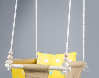 Home swing for baby/ Baby Hammock swing/ Baby swing chair/ Yellow baby swing/ Toddler swing/ Baby swing/ Kids swing/ Indoor swing