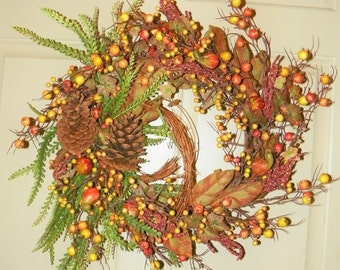"""Harvest Wreath with Grapevine, Pine Cones, Berries, Gourds on a Birch Branch Base 24 x 22""""  Wreath, Perfect for Entrance Living Room Dining"""
