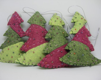 Felt Christmas Tree Ornaments Set of Four