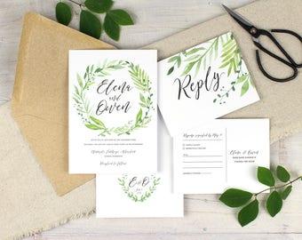 greenery wedding invitations, woodland wedding invitations, wedding suite, spring wedding, spring wedding, tropical wedding,