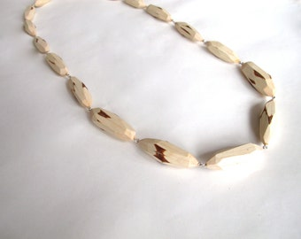 Faceted wood necklace hand made jewelry chunky statement necklace faceted beads wood necklace