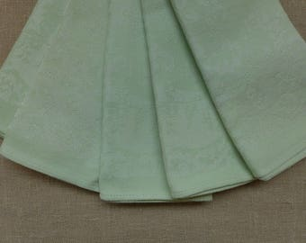 5 Vintage Mint Green Cotton Jacquard Napkins