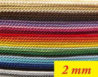 Twisted Cord, 3 ply Cord, Twisted Soutache Braid, Cord, Trim 2mm thick- choice of colour