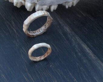 Custom His and Hers Handmade Natural Rustic Natural Deer Antler Wedding Bands- Matching Rings with engravings Bands Runes
