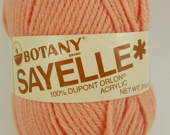 "Botany Sayelle Yarn, 100% Dupont Orlon Acrylic, ""Lt Peach"", 3 1/2 ozs, 4 Ply Knitting Worsted Weight, Color Fast, Shrink Resistant"