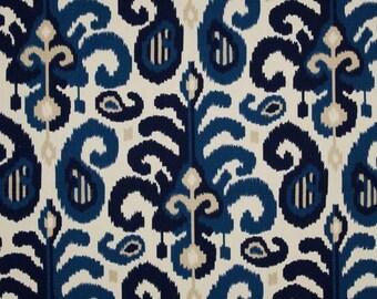 Fabric by the Yard Blue Ikat Fabric Suburban Home Rasul Blue