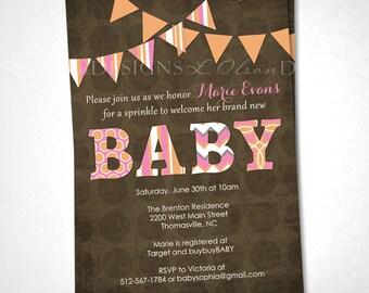 Baby Pennants Baby Shower Invitation - Pink Orange - DIY Printable