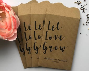 10 'Let Love Grow' Double Sided Wedding Favour Seed Packet Envelopes Personalised Kraft