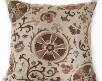 Pillow Cover - Brown - Suzani - Vines - 20x20 - Accent Cushion Cover