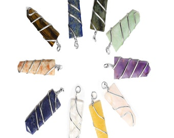 Set of 10 Silver Tone Spiral Gemstone Pendants - Silver Tone Bail S13B15