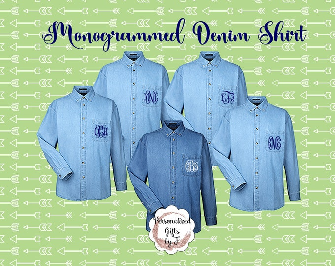 2 Monogrammed Denim Shirts, Bridesmaids Shirt, Personalized Button Down Shirt, Bridesmaids Gift, Bridal Party Gifts, Embroidered