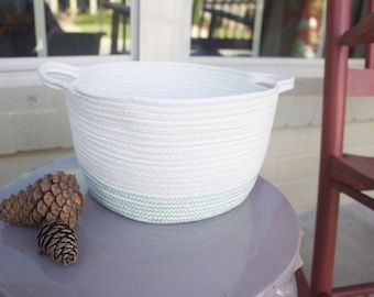 Cotton Rope Basket - Handles - Green and Cream