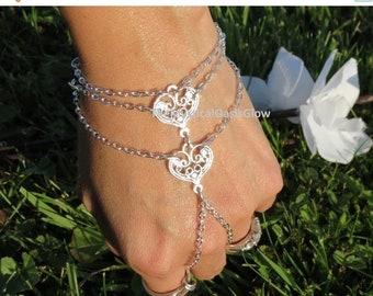 Two hearts Bridal Slave Bracelet, Wedding Ring Bracelet, Hand Jewelry double heart slave bracelet ring, chain finger bracelet, ring bracelet