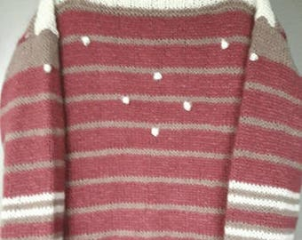 Erica-Pink alpaca pullover with white dots-size S/M