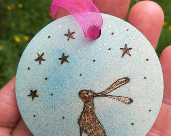 Hare and Stars wooden hanging decoration