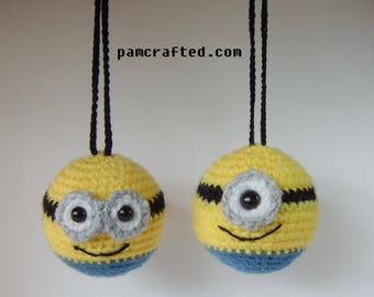 minion inspired bauble ornament crochet decorations