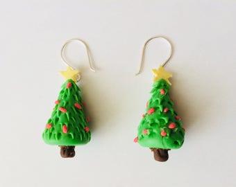 Handmade Cold Porcelain Christmas Tree Earrings