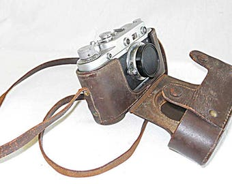 Vintage Zorki Leica 35mm Rangefinder Camera With Leather Case Russian Copy 1:3.5 5cm