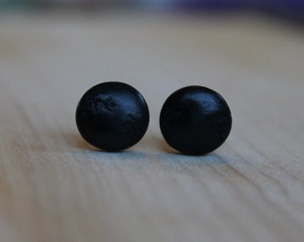 Vintage Japanese Wood Cabachon (10mm) Hypoallergenic Post Earrings for Sensitive Ears - Niobium / Titanium / Surgical Steel