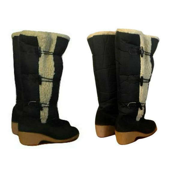 knee boots shoes winter outdoor ladies boots boots toggle canvas Women's boots boots Sherpa snow boots high leather tall boots qUX1O0nE