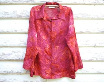 90s Vintage Sheer Red Floral Shirt Boho Blouse Retro Grunge Hippie Lightweight Vtg 1990s Size M-L