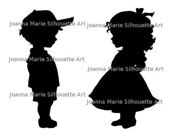 PNG/JPG Silhouette Clipart - Children (Pair)
