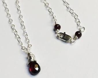 Garnet Necklace   Garnet Jewelry   Garnet Pendant  January Birthstone  Garnet Gemstone