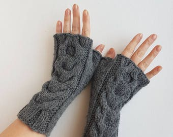Cable fingerless gloves, grey wool handwarmers, braided womens armwarmers, winter mittens, womens mitts,