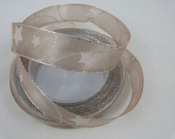 Large Christmas Ribbon taupe and silver for home decor