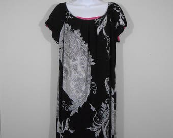 Vintage 1990s Black And White Abstract Print Mini Dress Short Sleeves / Size 16 / 90s Retro Sheath Dress By R&K Originals