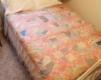 Pink Quilt, Vintage Quilt, Handmade Quilt, Antique Patchwork Quilt