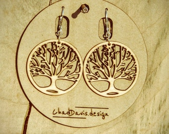 Tree of Life Wooden Earrings Lightweight Sterling Silver