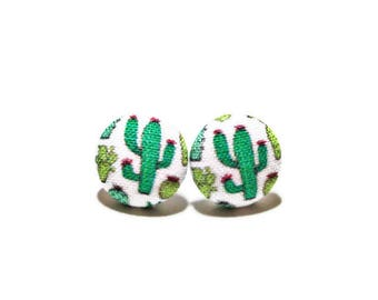 Cactus Earrings, Titanium Post Earrings, Small Fabric Studs, Cover Button Jewelry, Nickel-free Earrings, Titanium Jewelry, Succulents