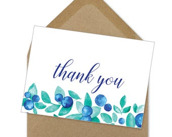thank you blueberries printable card | A6
