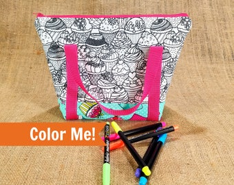Cupcake Coloring Lunchbox, Teen Girl Gifts, Tween Girl Gifts, College Student Gift, Insulated Lunch Bag for Women, Kids Art Gift Mom