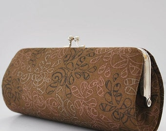 Nature Elements in Coffee Liqueur..Small Clutch Purse