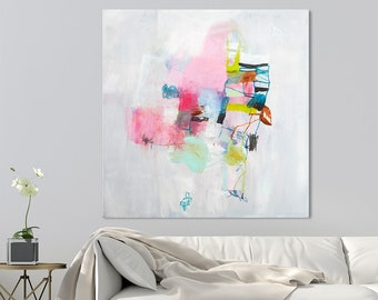 Abstract Painting Original Wall Art, large canvas art, abstract art, house painting, wedding gift, Colorful painting, 32x32  by DUEALBERI