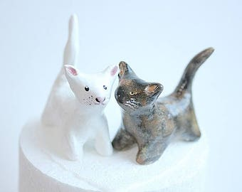 Hand sculpted Custom Cat Ornament, Clay Cat, White Cat, Tortoise shell Cat,Black and White Cat,Cat Birthday topper,Animal Cake Topper
