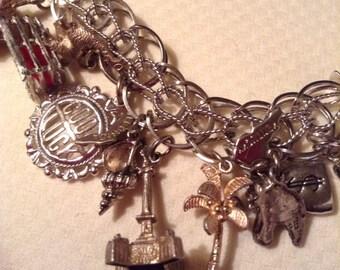 Vintage Sterling Silver Loaded Charm Bracelet