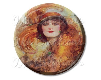 LIQUIDATION SALE! Vintage 1920s Flapper Those Eyes Pocket Mirror, Magnet or Pinback Button 2.25""