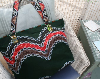Tote Bag (Large) - Zipped Top - Traditional African Kitenge Fabric - Dark Green Red White
