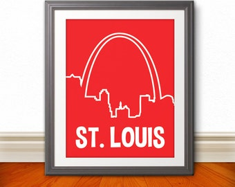 St. Louis, MIssouri Custom Color Skyline Print, St. Louis Art, St. Louis Print, St. Louis Sign - 11x14