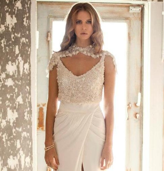 2 Piece Wedding Dress Sequin Two Unique Bridal Gown Top