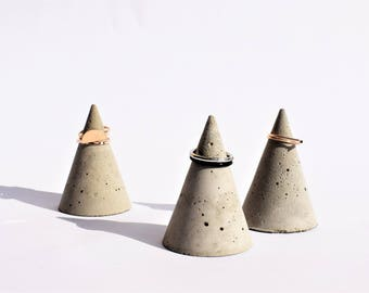 Concrete cone Ring Holder minimalist ring storage beton decor modern accessories