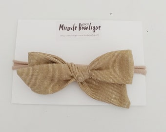 Hair bow linen bow sparkle bow baby bows